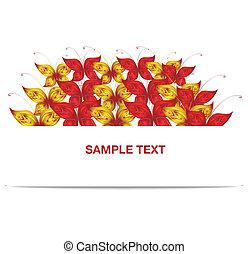 motyl, chorągiew, czerwony żółty