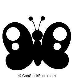 motyl, czarnoskóry, sylwetka