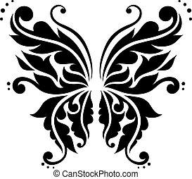 motyl, dekoracyjny, wektor