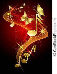 motyl, dym, muzyczny, gwiazdy, notatki