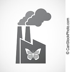 motyl, ikona, odizolowany, fabryka