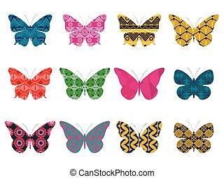 motyl, illustration., isolated., próbka, tło., motyle, wektor, biały