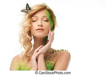 motyl, kobieta, jej, wiosna, młody, włosy, kostium, śniący, konceptualny