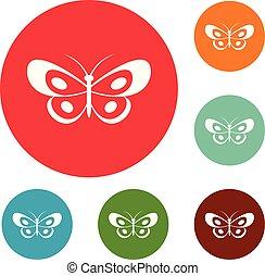 motyl, komplet, ikony, tropikalny, wektor, koło