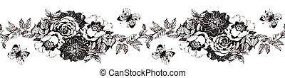 motyl, kwiat, flower., handmade., odizolowany, akwarela, tło., biały, malarstwo