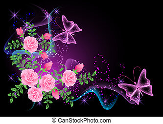 motyl, kwiaty, dym, tło