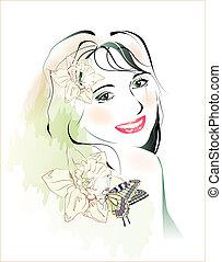 motyl, młody, akwarela, portret, dziewczyna, kwiaty