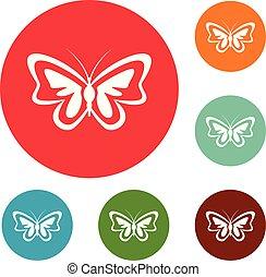 motyl, niezwykły, komplet, ikony, wektor, koło