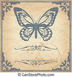 motyl, papier, tło, vinta