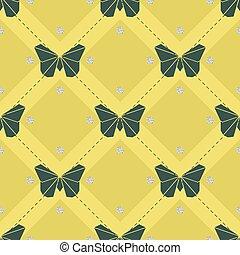 motyl, próbka, seamless, żółta zieleń, tło, origami, blask, srebro, kropka