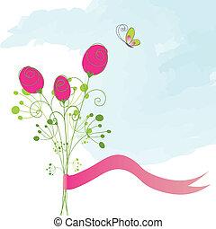 motyl, róża, abstrakcyjny, czerwony