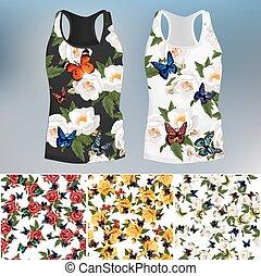 motyl, róża, modny, projektować, t-shirt