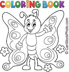 motyl, radosny, kolorowanie, 1, temat, książka