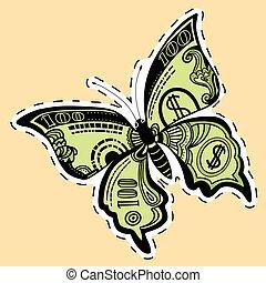 motyl, rzeźnik, halabarda, dolar, etykieta