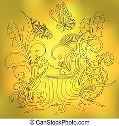 motyl, słoneczny, pniak, dzień, żółty