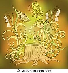 motyl, słoneczny, pniak, dzień