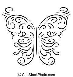 motyl, szykowny, dekoracyjny, izolować, graficznie