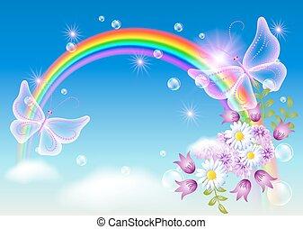 motyl, tęcza, magia, niebo