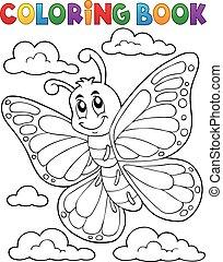 motyl, topic, kolorowanie, 1, książka, szczęśliwy