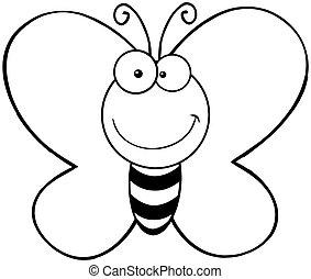 motyl, uśmiechanie się, konturowany