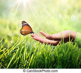 motyl, w, ręka dalejże, trawa