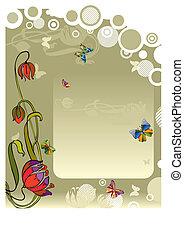 motyl, wektor, kwiat, tło