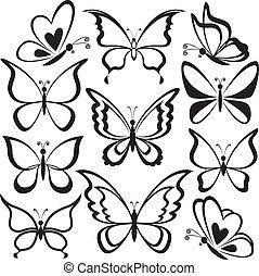 motyle, czarnoskóry, kontury