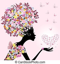 motyle, dziewczyna, valentine