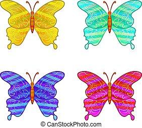 motyle, komplet, barwny, ikony