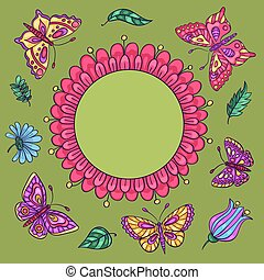 motyle, kwiaty, karta