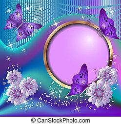 motyle, kwiaty, okrągły, ułożyć