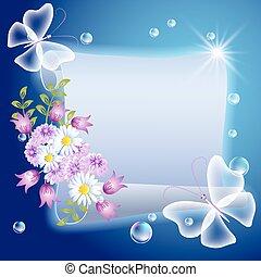 motyle, kwiaty, pergamin