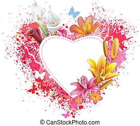 motyle, kwiaty, powitanie karta