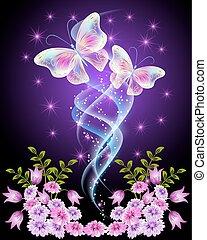 motyle, kwiaty, przeźroczysty, gwiazdy