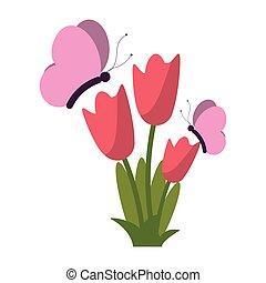 motyle, kwiaty, rysunek