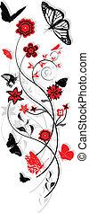 motyle, ozdoba, kwiatowy