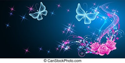 motyle, róże, gwiazdy, neon, błyszczący