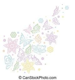 motyle, różny, białe tło