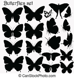 motyle, wektor, si, zbiór