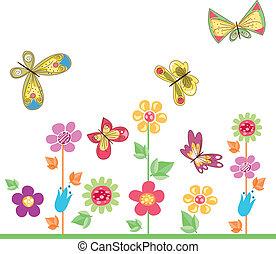 motyle, z, kwiaty, 2