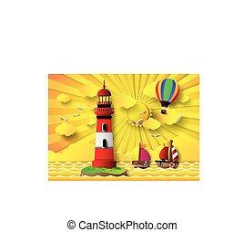 motyw morski, latarnia morska, słońce wystawiają
