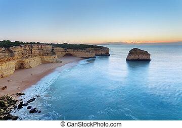 motyw morski, plaża, albufeira., wschód słońca, rano