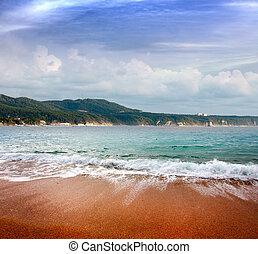 motyw morski, plaża, piaszczysty