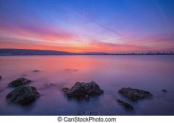motyw morski, po, zachód słońca, długa ekspozycja