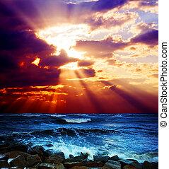 motyw morski, surrealistyczny, zachód słońca