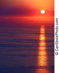 motyw morski, zachód słońca