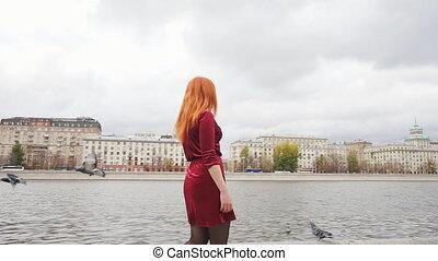 mouche, autour de, pigeons, promenade, promenades, long, girl