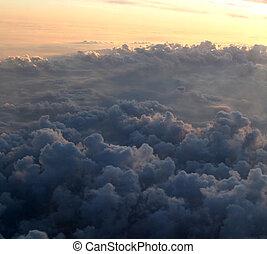 mouche, avion, ciel, vue