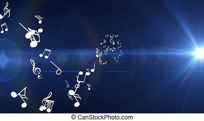 mouche, bleu, différent, beaucoup, notes, fond, blanc, musical