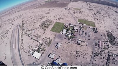 mouche, bleu, sky., arizona., ensoleillé, parachute, sport., skydiver, au-dessus, day., extrême